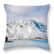 Red Shack On Fjord - Panorama Throw Pillow