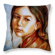 Red Shawl Throw Pillow