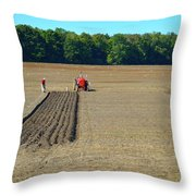 Red Shirt Red Tractor  Throw Pillow