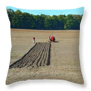 Red Shirt Red Tractor Two  Throw Pillow