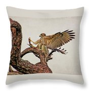 Red-shouldered Hawk Landing 2 Throw Pillow
