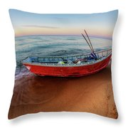 Red Skiff Throw Pillow