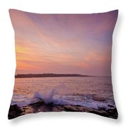 Red Sky And Storm Waves Throw Pillow