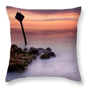 Red Sky Caution Throw Pillow by Mike  Dawson