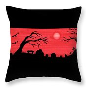 Red Sky Cemetery Throw Pillow
