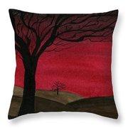 Red Sky - Dark Hills Throw Pillow