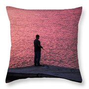 Red Sky Fishing Throw Pillow