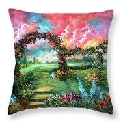 Red Sky Garden Throw Pillow