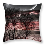 Red Sky Moon Throw Pillow