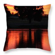 Red Sky Reflection With Tree Throw Pillow