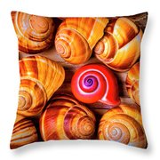 Red Snail Shell Throw Pillow