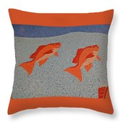 Red Snapper Inlay On Alabama Welcome Center Floor Throw Pillow
