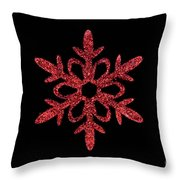 Red Snowflake Ornament Throw Pillow