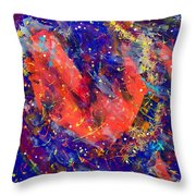 Red Space Glitter 15-15 Throw Pillow