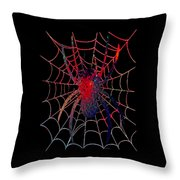 Red Spider On Black Throw Pillow