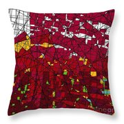Red Stained Glass Throw Pillow