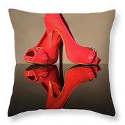 Red Stiletto Shoes Throw Pillow