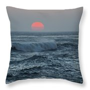 Red Sun With Wave Throw Pillow