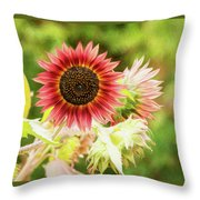 Red Sunflower, Provence, France Throw Pillow