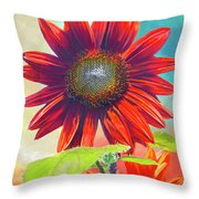 Red Sunflowers At Sundown Throw Pillow