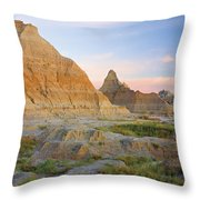 Red Sunrise On The Hills Of Badlands Throw Pillow