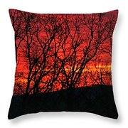 Red Sunrise Over The Ozarks Throw Pillow