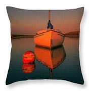 Red Sunrise Reflections On Sailboat Throw Pillow