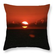 Red Sunset Over The Atlantic Throw Pillow