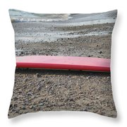 Red Surf Board On A Rocky Beach Throw Pillow