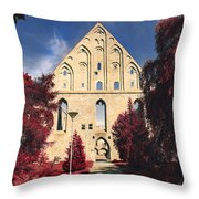 Red Surreal Abbey Ruins Throw Pillow