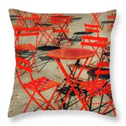 Red Tables And Chairs Throw Pillow