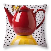 Red Teapot With Butterfly Throw Pillow
