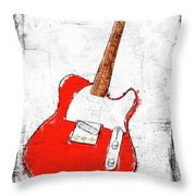 Red Telecaster Fine Art Illustration By Roly O Throw Pillow