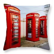 Red Telephone Booths London Throw Pillow