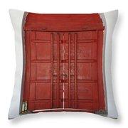 Red Temple Door Throw Pillow