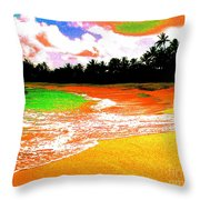 Red Tide Green Tide Throw Pillow
