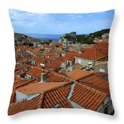 Red Tiled Roofs Of Dubrovnik Throw Pillow