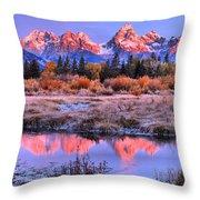 Red Tip Teton Reflection Panorama Throw Pillow