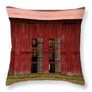 Red Tobacco Barn Throw Pillow