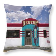 Red Top Diner On Route 66 Throw Pillow