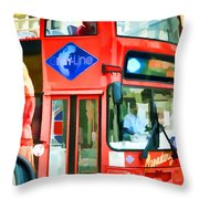 Red Tourist Bus In New York Throw Pillow