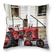 Red Tracktor Throw Pillow