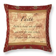 Red Traditional Faith Throw Pillow