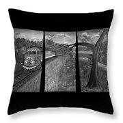 Red Train Passage In Black And White Throw Pillow