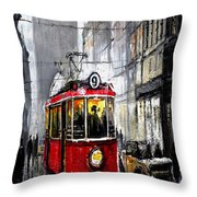Red Tram Throw Pillow by Yuriy  Shevchuk