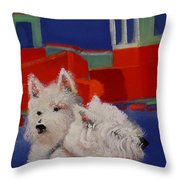 Red Trawlers Throw Pillow
