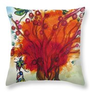 Red Tree And Friends Throw Pillow