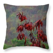 Red Tree In The Rain Throw Pillow