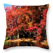 Red Trees By Lake Throw Pillow