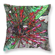 Red Tropical Flower Throw Pillow